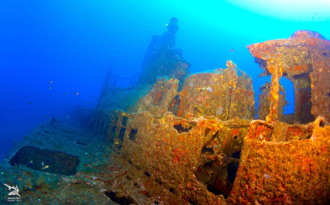 Vue d'une épave dans la méditérranée avec Mio Palmo Plongée