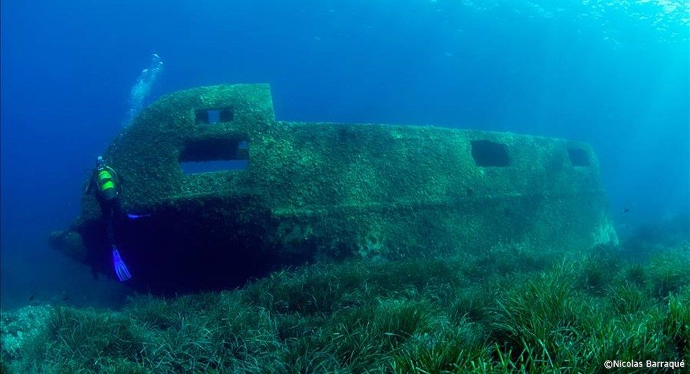 Epave pour débutants en plongée à Porquerolles le Cimentier