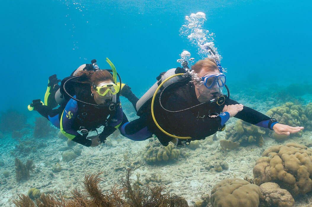 Un moniteur de plongée forme une femme à un cours de spécialité