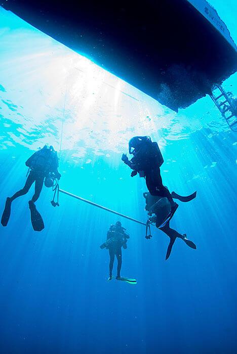 Un groupe de plongeur en séance de formation rescue Diver