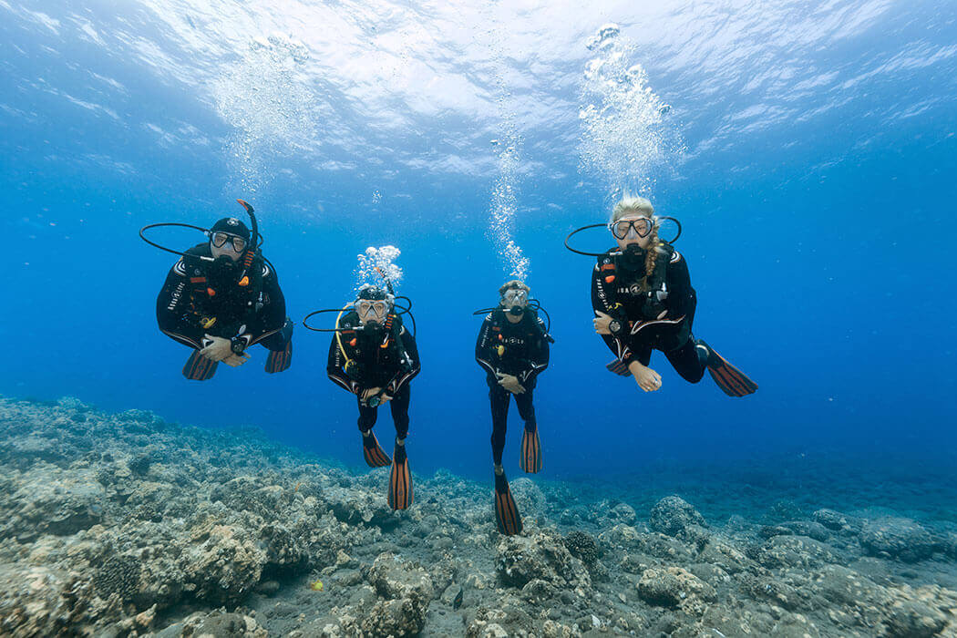 Un groupe de plongeur et le moniteur pendant la formation Scuba Diver à Port-cros